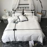 床包組 純棉床裙款蕾絲邊四件套歐式純色全棉床罩被套1.8m床上