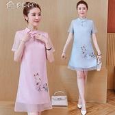 休閒洋裝改良旗袍新款女士時尚純色簡約繡花日常可穿中長款連身裙 快速出貨