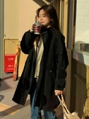 秋裝韓版新款寬鬆中長款純色簡約學生閨蜜款長袖風衣外套女裝 伊莎公主