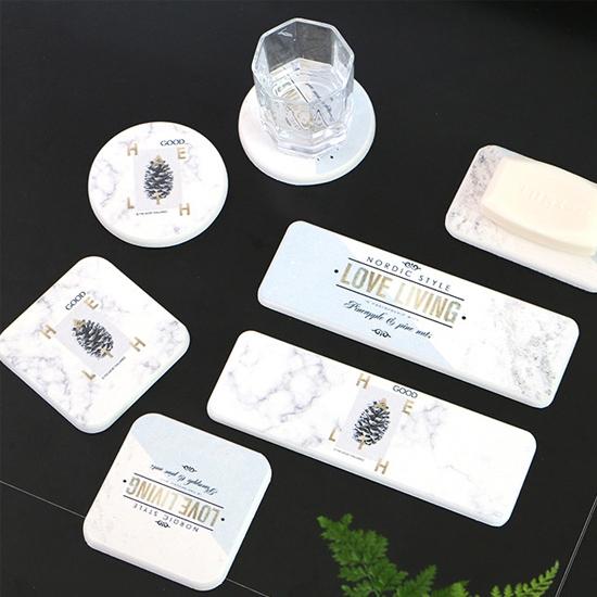 吸水杯墊 硅藻土 辦公桌 浴室 餐廳 飲料 防滑墊 送禮 北歐圓款硅藻土杯墊【P232】慢思行