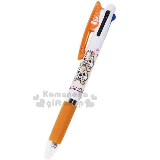 〔小禮堂〕迪士尼 奇奇蒂蒂 日製多色原子筆《3色.橘.撐頭》3色筆.Jetstream系列 4991277-09743