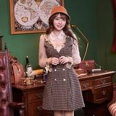洋裝 格紋荷葉雙排扣長袖洋裝-Ruby s 露比午茶