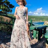 梨卡 - 春夏新款度假風花朵印花透膚雪紡洋裝連身裙長洋裝長裙連身長裙沙灘裙C6401