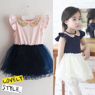 *╮小衣衫S13╭*  亮片娃娃領紗裙洋裝1020429