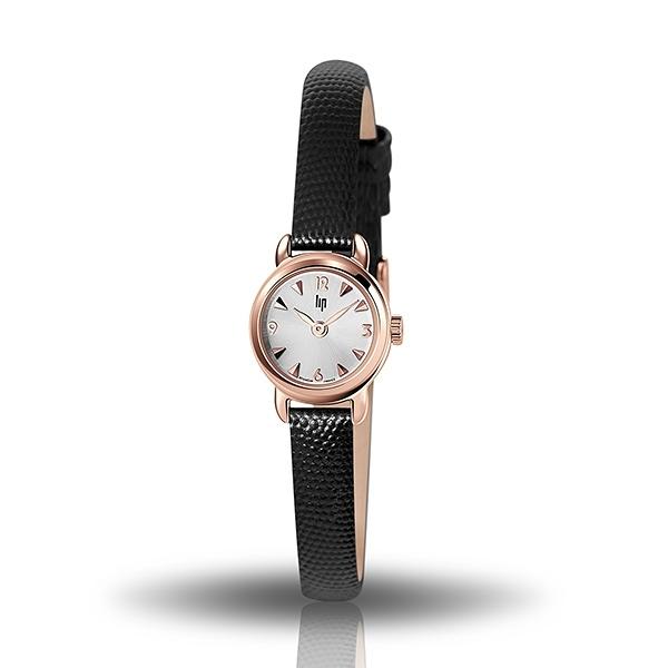【lip】Henriette精緻小巧時尚真皮石英腕錶-黑玫金/671261*/台灣總代理公司貨享兩年保固