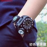 戶外LED手腕燈手戴式強光手電筒腕錶手錶硅膠照明燈夜跑防身專用 初色家居館