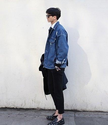 韓國 後開叉 特殊設計 牛仔外套 開叉 斜開叉 平價 服飾 上市