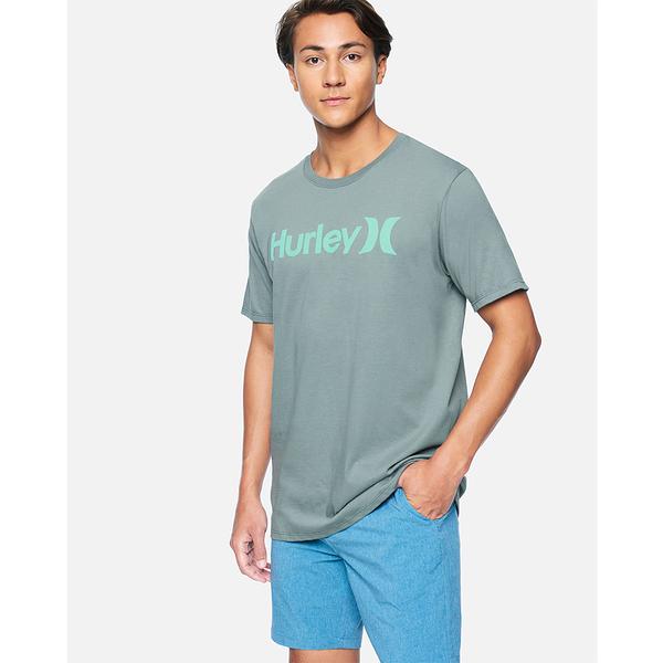 Hurley M HRLY PRM OAO SOLID TEE SS SMOKE GREY/(AURORA GREEN) T恤-(綠)