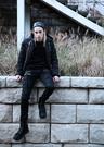 【找到自己】 韓國 嘻哈 拼接 機車褲 休閒褲 牛仔褲 暗黑 龐克 拉鍊設計