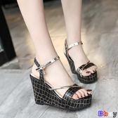 【Bbay】 楔型涼鞋 坡跟涼鞋 厚底鞋 增高 鬆糕鞋