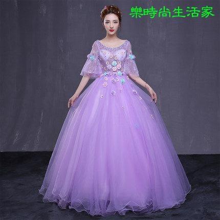 2017紫色時尚婚纱禮服 演出服 蓬蓬裙中袖性感禮服