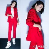 西裝套裝 OL職業西服套裝女韓國顯瘦時尚帥氣小西裝外套九分褲兩件套LB10455【3C環球數位館】