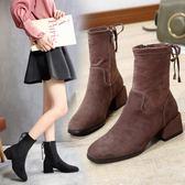 女靴中筒靴顯瘦中粗跟彈力短靴馬丁靴網紅女鞋踝靴子 免運