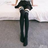 夏天長襪日系絲襪三杠高筒襪子過膝襪女學生黑白色長筒  深藏blue