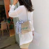 斜背果凍包海邊度假小包包女夏新款韓版小清新編織水桶包透明包包斜挎包可卡衣櫃