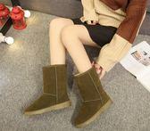 中筒女靴 雪地靴女中筒靴加厚加絨女靴磨砂防滑平底學生棉鞋潮  綠光森林