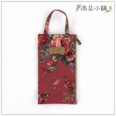 手提包 包包 防水包 雨朵小舖M385-004 花漾單提小扁包-紅花朵串深07010 funbaobao