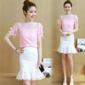 套裝裙 新款蝴蝶結短袖蕾絲衫包臀魚尾半身裙小香風兩件套LJ10180『小美日記』