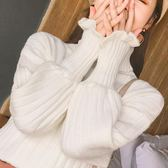 毛衣 高領毛衣女套頭短款韓版秋冬新款白色針織衫燈籠長袖寬鬆打底學生