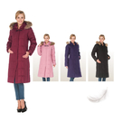 【SAMLIX 山力士】女 歐風品味羽絨長大衣(#1051紅紫色.黑色.深紫色.粉紅色)