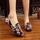 中大尺碼新款平頭時尚休閒小碎花時尚潮流布鞋防滑大底女單鞋 js6048『科炫3C』