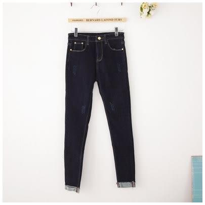 梅梅露*【69010230】牛仔褲。低腰反褶單寧小腳褲