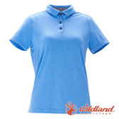 【wildland 荒野】女 彈性本布領POLO上衣『水藍』0A71639 T恤 POLO衫 上衣 短袖 排汗 休閒 戶外 登山
