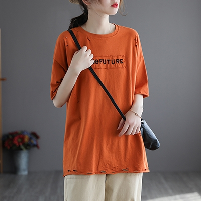 純棉貼字母刺繡短袖T恤 破洞寬鬆圓領套頭上衣/6色-夢想家-0329