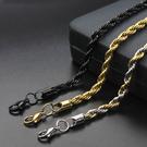 《 QBOX 》FASHION 飾品【N100XL056】精緻個性多色款麻花繩鈦鋼項鍊子/鋼鍊條(0.3/0.39cm)