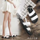 涼鞋女學生平底韓版中跟女鞋涼鞋百搭外穿沙灘鞋厚底度假鞋子 千千女鞋
