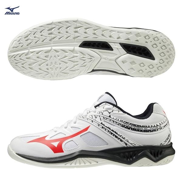 MIZUNO THUNDER BLADE 2 男鞋 排球 手球 2.5E 輕量 耐磨 白黑橘【運動世界】V1GA197065