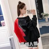 韓版女裝原宿bf港風棒球服貼布印花寬鬆拼接學生外套 全館免運