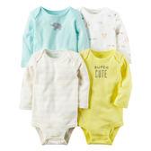 美國Carter's卡特童裝 男寶寶 長袖活肩包屁衣 四件式套裝 藍大象【CA126G876】