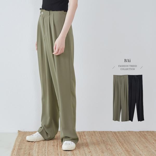 薄款類西裝滑料垂墜落地褲M-XL號-BAi白媽媽【310413】