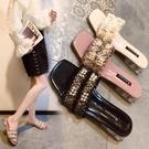 拖鞋女外穿2020新款夏季小香風珍珠高跟懶人涼拖網紅粗跟一字拖女 蘿莉新品