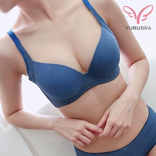 【Yurubra】極線密語內衣。A.B.C罩 無痕 包副乳 防外擴 機能 托高 台灣製。※0613藍