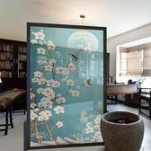現代中式實木半透明屏風鏤空隔斷客廳酒店茶樓風水玄關紗質座屏 一米陽光