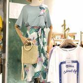 套裝 清貨特惠 夏裝新款印花短袖T恤配中長款半身裙兩件套女裝套裝