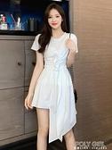 2021新款設計感不規則荷葉邊t恤裙短袖顯瘦小個子連身裙女 polygirl