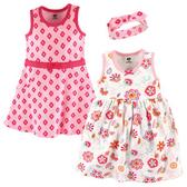 Luvable Friends 背心無袖洋裝+連身裙+髮飾  三件組 白花朵 | 女寶寶套裝(嬰幼兒/兒童/小孩)