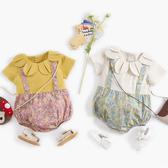 花朵領假兩件吊帶包屁衣 連身衣 嬰兒服 兔裝 哈衣