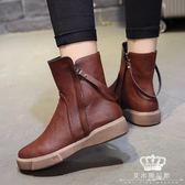 短靴 機車靴 秋冬新款女平底復古學生厚底馬丁靴棉靴