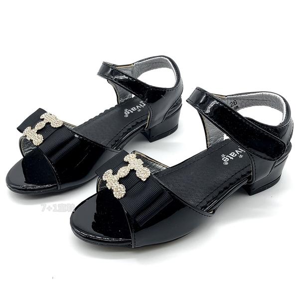 《7+1童鞋》專櫃款 普萊米 PRIVATE 華麗殿堂 精緻鑲鑽 微跟公主涼鞋 E155 黑色