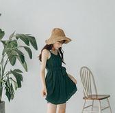 雪紡溫柔風小個子吊帶裙子綠色sukol復古連身裙女夏2018新款學生 溫暖享家