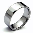 『時尚方切面鎢金鎢鋼戒指批發x版寬0.8公分x美規9號黑亮金屬光澤