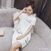 女裝改良版小旗袍夏季新款女少女短款現代中國風小香風洋裝      麥吉良品