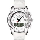 TISSOT 天梭 T-TOUCH II 鈦真鑽多功能觸控手錶-白/42.7mm T0472204601600