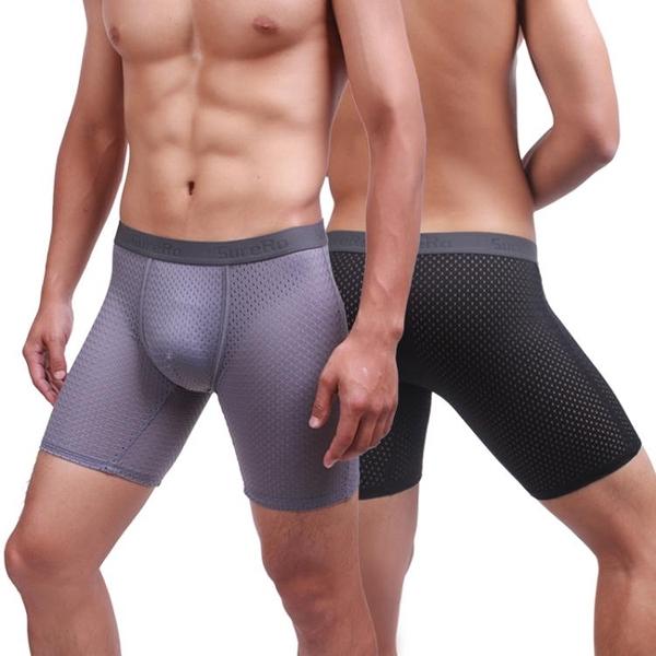 限時特惠 3條裝冰絲透氣夏季男內褲加長款速干平角跑步運動防磨腿五分四角