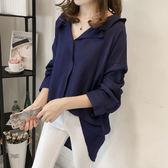 【GZ23】韓版寬鬆V領蝙蝠袖襯衫長袖上衣翻領落肩長袖襯衫 M~4XL