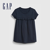 Gap女幼童 布萊納系列 荷葉邊裝飾圓領T恤 664102-藏青色